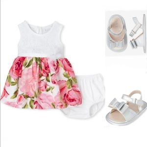 NWT • Children's Place Dress + Holographic Sandals